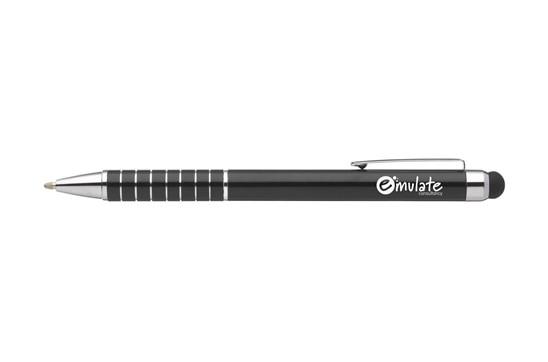 TARAS MULTI TOUCH Kugelschreiber:   Blauschreibender Aluminium-Kugelschreiber mit gummierter Spitze, um Touchscr