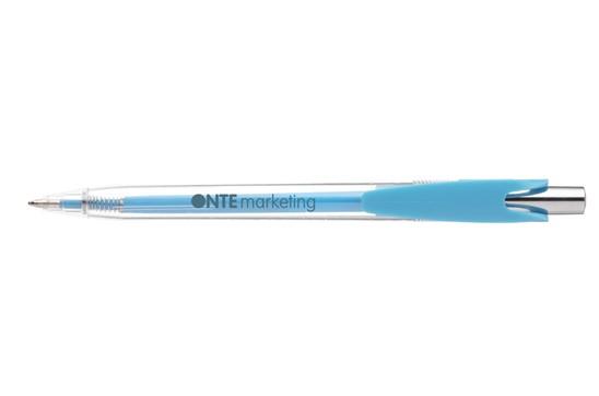 Writing Kugelschreiber: Kugelschreiber mit auffallendem und modernem Clip, transparentes Gehäuse und Far