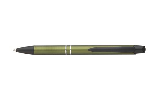 ORION Kugelschreiber:   Stylisher Alu-Kugelschreiber in Metalloptik mit blauer Mine und metallenem C