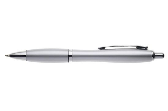 Kugelschreiber Surfer Silver:   mit taillierter Schaftform, Druckmechanismus, Großraummine, blauschreibend
