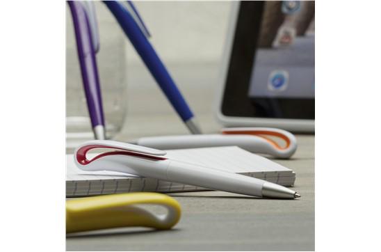 Duck Kugelschreiber: Blauschreibender Kugelschreiber mit schön gebogenem Clip mit Farbakzent und Dreh