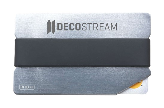 RFID Personala Kartenhalter: Trendiger Aluminium-Kartenhalter mit glänzender Oberfläche und elastischem Silik