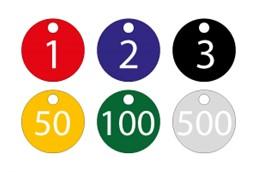 """Chip Nummern-Schlüsselanhänger Aluminium DM 30mm:   """"Wählen Sie aus diversen Farben Ihren persönlichen Chip Nummern-Schlüsselanh"""