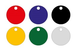 Chip-Schlüsselanhänger Aluminium DM 20mm:   Wählen Sie aus diversen Farben Ihren persönlichen Chip-Schlüsselanhänger aus