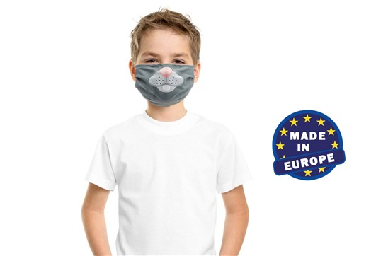 MNS Maske für Kinder inkl. Druck , Made in EU: Wiederverwendbarer Mund und Nasenschutz für Kinder aus Mikrofaser 220g/m2, 60 °
