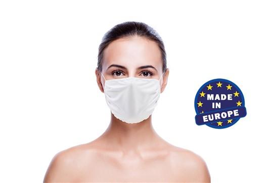 Mund und Nasenschutz in weiss, Made in EU: Wiederverwendbarer Mund und Nasenschutz aus Mikrofaser 220g/m2, 60° waschbar (oh