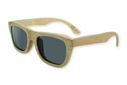 BAMBUS Holz-Sonnenbrille: Sonnenbrille mit Rahmen und Bügel aus echtem Bambusholz, schwarze Gläser mit UV-