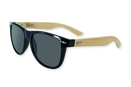BAMBUS Holz-Sonnenbrille: Sonnenbrille mit Bügel aus echtem Bambusholz, Rahmen aus schwarzem Kunststoff, s
