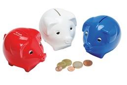 Sparschwein: mit Kunststoff-Schloss und -Schlüssel, beliebter Streuartikel für alle Sparer
