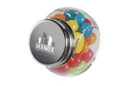 CandyPot: Gläserner Topf mit ca. 30 g Süßigkeiten. Bitte geben Sie bei Ihrer Bestellung di