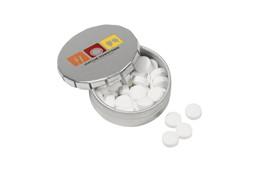 MINI KLIK Mint: Kleine Dose mit handlichem Druck-/Klicksystem. Gefüllt mit ca. 12 g Pfefferminzd