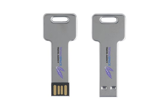 T-KEY USB-Stick: Hochwertiger USB-Stick aus Metall in Form eines Schlüssels, verfügbare Speicherg