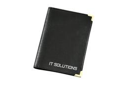 Mobil Autobrieftasche: Brieftasche für Fahrzeugpapiere aus Imitatleder, mit metallenen Schutzecken.