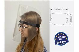 Gesichtsmaske Plexi Typ B, Made in EU:   Die Gesichtsmaske Plexi besteht aus klarem PET Material, beidseitig mit Schu