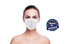 Mund und Nasenschutz in weiss, Made in EU:   Wiederverwendbarer Mund und Nasenschutz aus Mikrofaser 220g/m2, 60° waschbar
