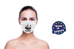 Mund und Nasenschutz mit Druck, Made in EU:   Wiederverwendbarer Mund und Nasenschutz aus Mikrofaser 220g/m2, 60 ° waschba
